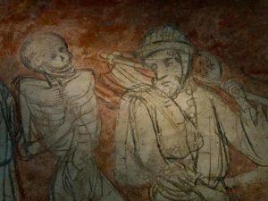Détail de la danse macabre de l'Abbatiale de la Chaise dieu, les peintures, Haute-Loire, Auvergne