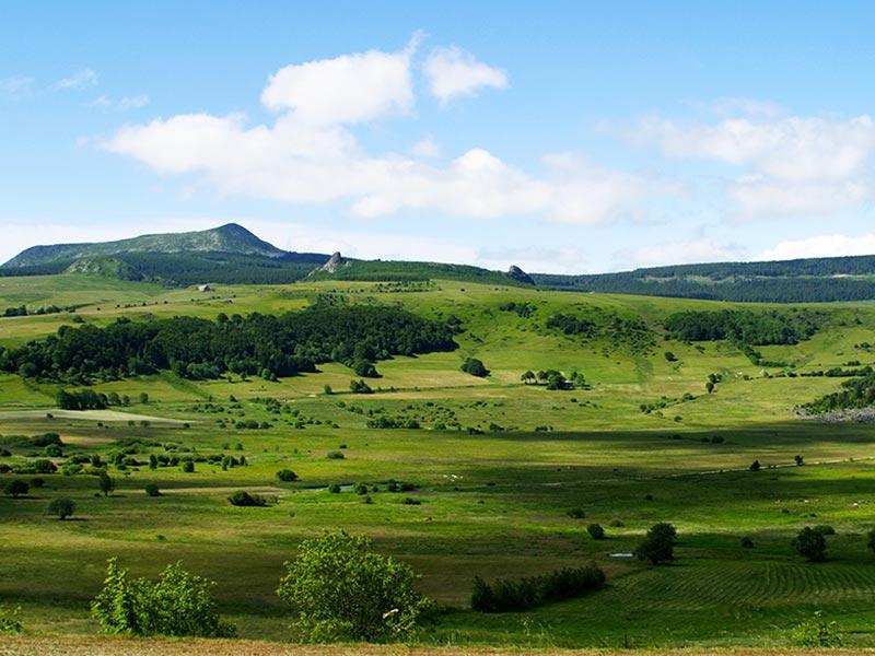 Les Narces de Chaudeyrolles et le Mont Signon, volcan, Pays du Velay, Haute-Loire, Auvergne