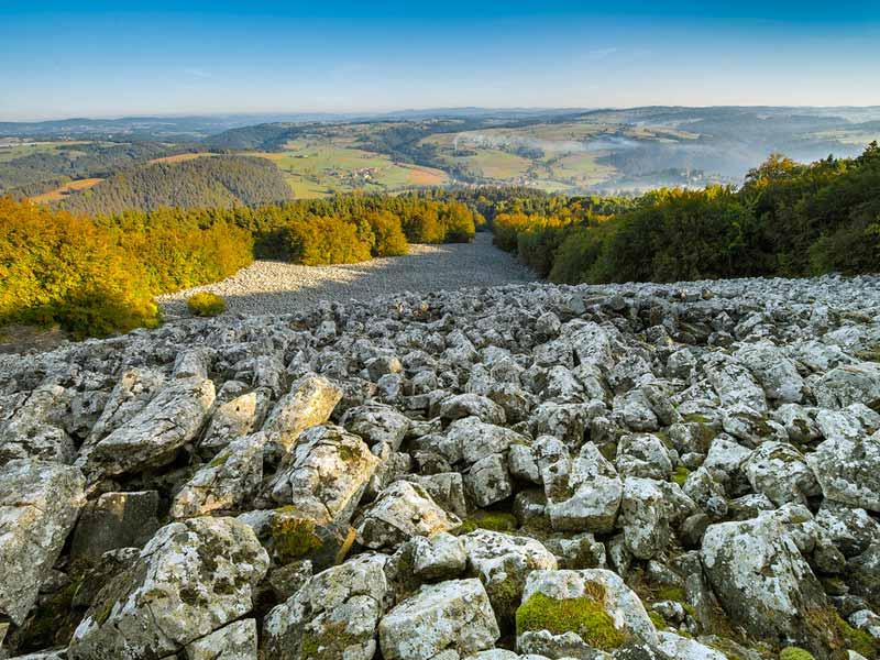 La coulée de lave de Bourianne à Saint-Julien-D'Ance, volcan, Pays du Velay, Haute-Loire, Auvergne