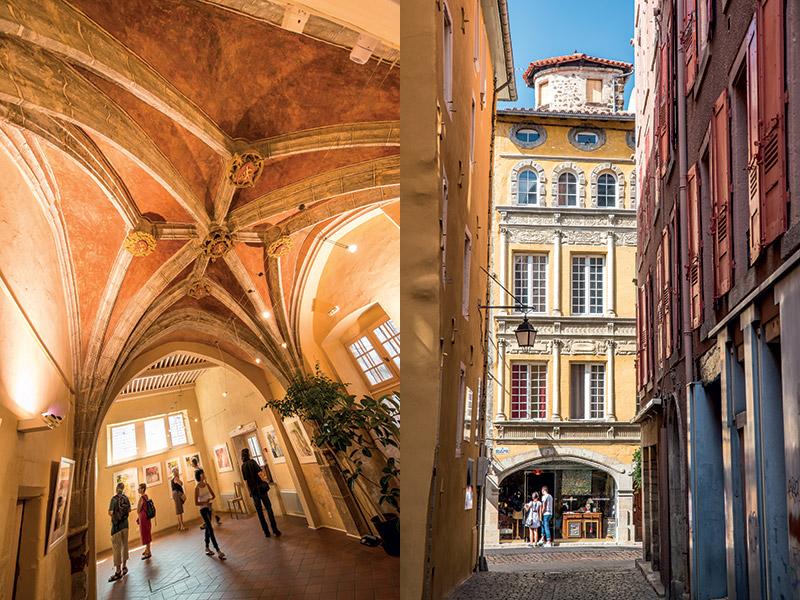 Les ruelles de Toscane grâce aux maisons colorées et aux façades influencées par la Renaissance italienne au Puy-en-Velay et à Brioude